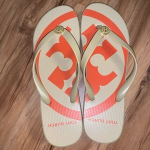 Tory Burch Orange and Tan Sandals